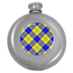 Smart Plaid Blue Yellow Round Hip Flask (5 oz) by ImpressiveMoments