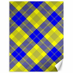 Smart Plaid Blue Yellow Canvas 12  X 16   by ImpressiveMoments
