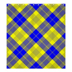 Smart Plaid Blue Yellow Shower Curtain 66  X 72  (large)