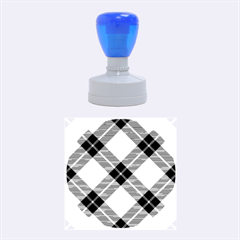 Smart Plaid Blue Yellow Rubber Round Stamps (medium) by ImpressiveMoments