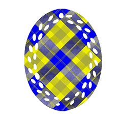 Smart Plaid Blue Yellow Oval Filigree Ornament (2 Side)  by ImpressiveMoments