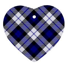 Smart Plaid Blue Ornament (Heart)  by ImpressiveMoments