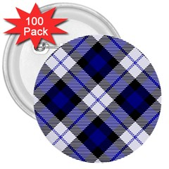 Smart Plaid Blue 3  Buttons (100 Pack)  by ImpressiveMoments