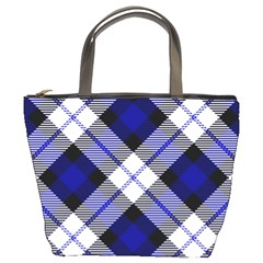 Smart Plaid Blue Bucket Bags by ImpressiveMoments