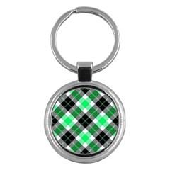 Smart Plaid Green Key Chains (round)  by ImpressiveMoments