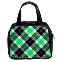 Smart Plaid Green Classic Handbags (2 Sides) by ImpressiveMoments