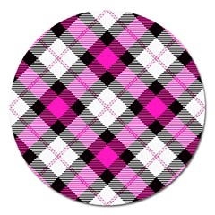 Smart Plaid Hot Pink Magnet 5  (round) by ImpressiveMoments