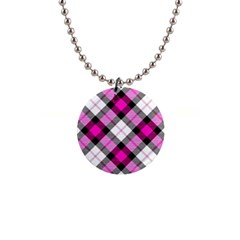 Smart Plaid Hot Pink Button Necklaces by ImpressiveMoments