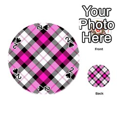 Smart Plaid Hot Pink Playing Cards 54 (round)  by ImpressiveMoments