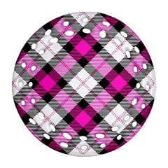 Smart Plaid Hot Pink Round Filigree Ornament (2Side) by ImpressiveMoments