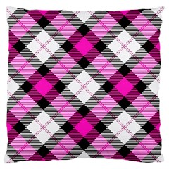 Smart Plaid Hot Pink Standard Flano Cushion Cases (One Side)  by ImpressiveMoments