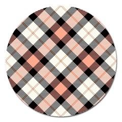 Smart Plaid Peach Magnet 5  (round) by ImpressiveMoments