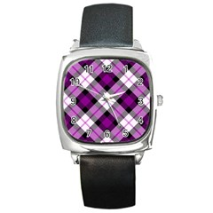 Smart Plaid Purple Square Metal Watches by ImpressiveMoments
