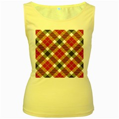 Smart Plaid Warm Colors Women s Yellow Tank Tops by ImpressiveMoments