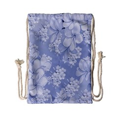 Delicate Floral Pattern,blue  Drawstring Bag (small) by MoreColorsinLife