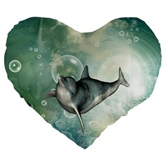 Funny Dswimming Dolphin Large 19  Premium Heart Shape Cushions by FantasyWorld7
