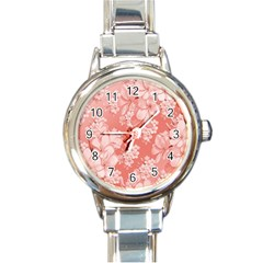 Delicate Floral Pattern,pink  Round Italian Charm Watches by MoreColorsinLife