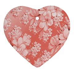 Delicate Floral Pattern,pink  Ornament (heart)  by MoreColorsinLife
