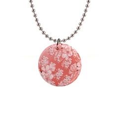 Delicate Floral Pattern,pink  Button Necklaces by MoreColorsinLife