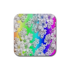 Delicate Floral Pattern,rainbow Rubber Coaster (square)  by MoreColorsinLife