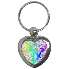 Delicate Floral Pattern,rainbow Key Chains (heart)  by MoreColorsinLife
