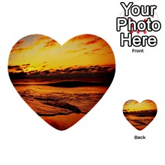 Stunning Sunset On The Beach 2 Multi Purpose Cards (heart)