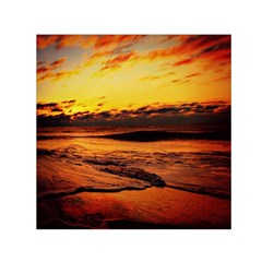 Stunning Sunset On The Beach 2 Small Satin Scarf (Square)  by MoreColorsinLife