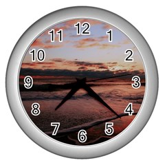 Stunning Sunset On The Beach 3 Wall Clocks (silver)  by MoreColorsinLife