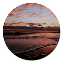 Stunning Sunset On The Beach 3 Magnet 5  (round) by MoreColorsinLife