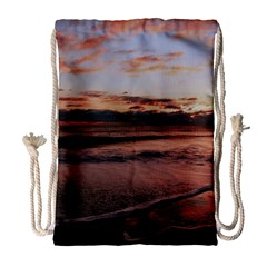 Stunning Sunset On The Beach 3 Drawstring Bag (large) by MoreColorsinLife