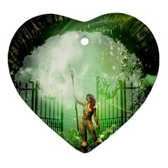The Gate In The Magical World Heart Ornament (2 Sides) by FantasyWorld7