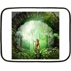 The Gate In The Magical World Fleece Blanket (mini) by FantasyWorld7