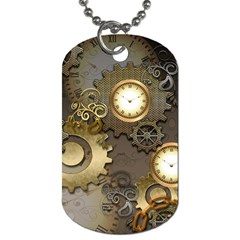 Steampunk, Golden Design With Clocks And Gears Dog Tag (one Side) by FantasyWorld7