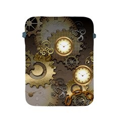 Steampunk, Golden Design With Clocks And Gears Apple Ipad 2/3/4 Protective Soft Cases by FantasyWorld7