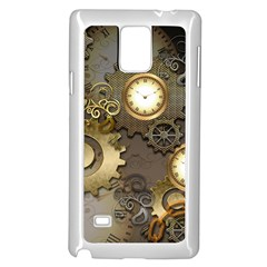 Steampunk, Golden Design With Clocks And Gears Samsung Galaxy Note 4 Case (white) by FantasyWorld7