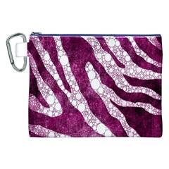 Purple Zebra Print Bling Pattern  Canvas Cosmetic Bag (xxl)  by OCDesignss