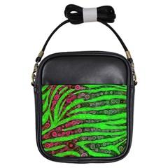 Florescent Green Zebra Print Abstract  Girls Sling Bags by OCDesignss