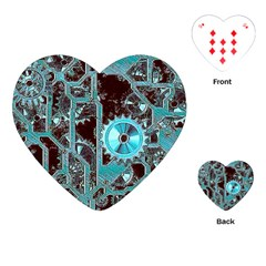 Steampunk Gears Turquoise Playing Cards (Heart)  by MoreColorsinLife