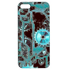 Steampunk Gears Turquoise Apple iPhone 5 Hardshell Case with Stand by MoreColorsinLife