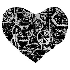 Steampunk Bw Large 19  Premium Flano Heart Shape Cushions by MoreColorsinLife