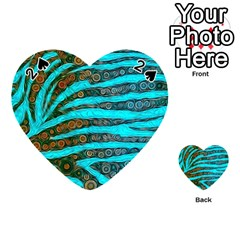 Turquoise Blue Zebra Abstract  Playing Cards 54 (heart)  by OCDesignss