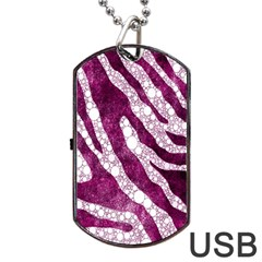 Purple Zebra Print Bling Pattern  Dog Tag USB Flash (One Side) by OCDesignss