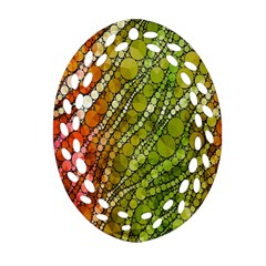 Orange Green Zebra Bling Pattern  Ornament (Oval Filigree)