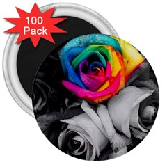 Blach,white Splash Roses 3  Magnets (100 Pack) by MoreColorsinLife