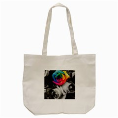 Blach,white Splash Roses Tote Bag (cream)  by MoreColorsinLife