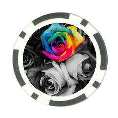 Blach,white Splash Roses Poker Chip Card Guards by MoreColorsinLife