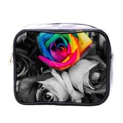 Blach,white Splash Roses Mini Toiletries Bags by MoreColorsinLife
