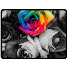 Blach,white Splash Roses Fleece Blanket (large)  by MoreColorsinLife