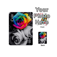 Blach,white Splash Roses Playing Cards 54 (mini)  by MoreColorsinLife