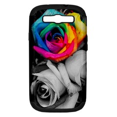 Blach,white Splash Roses Samsung Galaxy S Iii Hardshell Case (pc+silicone) by MoreColorsinLife